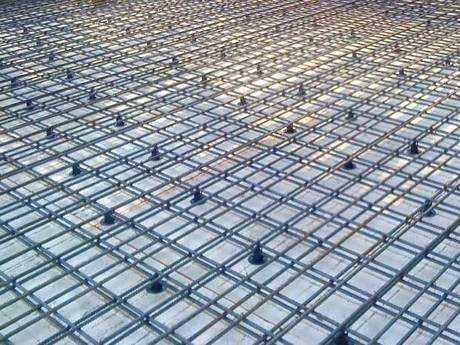 Concrete slab meshes are used for block slab structure reinforcing at construction site.